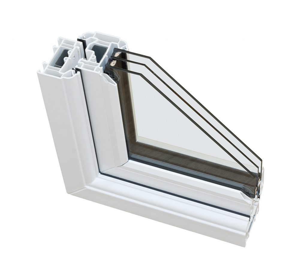 image of triple glazed window section